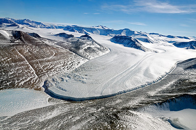 Victoria Valley and glacier in the Transantarctic Mountains.