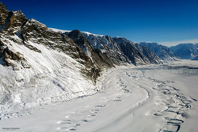 Melt water channels from the previous summer and terminus of Violingletscher (Violin Glacier) in Østgrønland (East Greenland) seen during an Operation IceBridge survey flight on April 5, 2014.